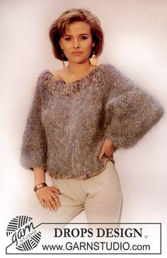 DROPS sweater i Magia med Marrakech i Patentstrikket bærestykke.  Gratis opskrifter fra DROPS Design.