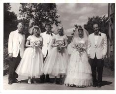 Vintage 1950's Wedding Photo Bridal Party Black & by coleuscottage on Etsy.
