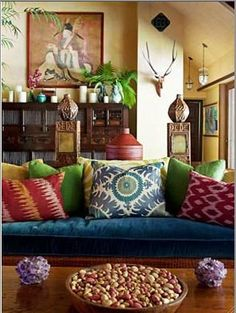 Eclectic ethnic fabrics and materials.