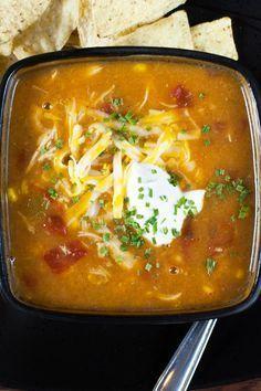 Weight Watchers Skinny Chicken Enchilada Slow Cooker Soup Recipe - 5 Smart Points