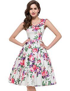 GRACE KARIN Women 50's Cocktail Dresses Floral Print Swing Dress CL7600