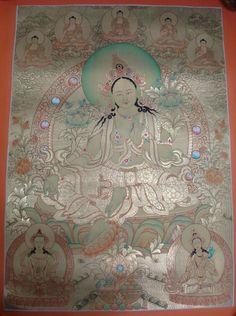 Green tara thangka - Full Gold Green Tara Thangka Tibetan Nepal painting