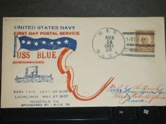 USS BLUE DD-387 Naval Cover 1937 HUTNICK COMMISSIONED Cachet FDPS