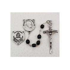 Black Oval Wood Rosary w/ Pope John Paul II Center
