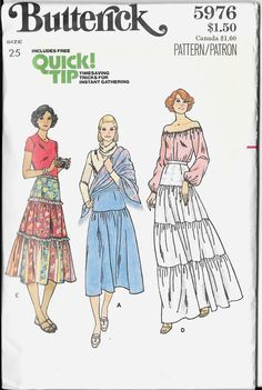Butterick 5976 vintage sewing pattern, dated circa Misses' Skirt. Skirt in below mid-knee and evening length has one, two or three tiers gathered into Butterick Sewing Patterns, Skirt Patterns Sewing, Vintage Sewing Patterns, Clothing Patterns, Paper Patterns, Peasant Skirt, Boho Gypsy, Bohemian Skirt, 1970s
