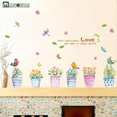 Color Small Grass Flowers Butterfly Bird Painted Potted Stickers Room Living Room Background Wall Stickers Removable -- Read more details by clicking on the image.