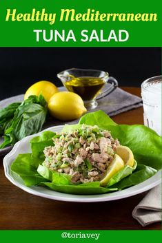 Healthy Mediterranean Tuna Salad Learn to make herby delicious flavorful and low cholesterol tuna salad No mayonnaise Kosher Mediterranean diet low carb gluten free Healthy Food List, Heart Healthy Recipes, Healthy Foods To Eat, Healthy Fats, Healthy Eating, Healthy Herbs, Clean Eating, Healthy Rice, Healthy Choices