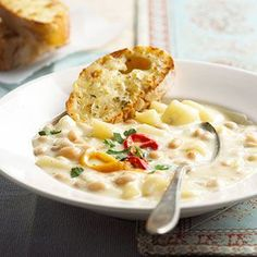 Bean-potato chowder. Use low-fat cheese, low-sodium broth, fresh potatoes + onions to make this a bit