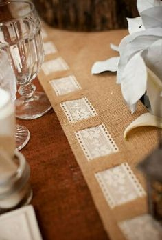 Burlap runner with lace trim