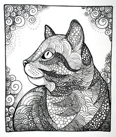 Coloring for adults-kleuren voor volwassenen Relieve your stress and have fun with this zentangle coloring pages.click this pin for more. Mandalas Drawing, Zentangle Drawings, Zentangle Patterns, Zentangles, Cat Coloring Page, Coloring Book Pages, Doodle Coloring, Cat Embroidery, Cat Art