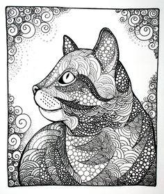 Dreamy Cat#doodle #zentangle #zendoodle