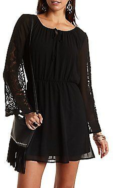 Skater Dress with Lace Sleeves
