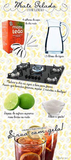 Mate geladinho com limão é a bebida perfeita para você se refrescar no verão! Experimente! ;) Food, Pith Perfect, Brazil, Recipes, Stuff Stuff, Beverage, Diet, Essen, Meals