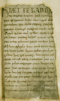 This original manuscript shows the first page of Beowulf written in Old English…