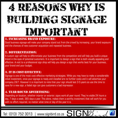 4 Reasons why building signage is important: - Increasing Brand Exposure - Differentiation - It is Cost-effective - Year round advertising #signbird #signage #signbird #Sinage #Graphicdesigns #symbols #emblems #FloorMats #RollUpBanners #PVCBanners #Stretched