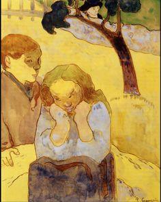 paul gauguin. #art #artist #artists #yellow #painter #painting #paintings #paulgauguin #postimpressionism #children #kids #trees #tree #green #orange #portrait #portraiture