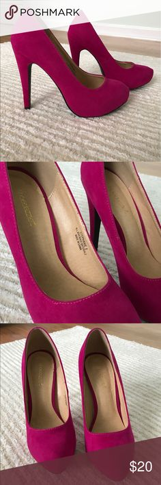 Hot pink Barbie pumps! Just like Barbie used to wear! Hot pink sueded pumps with an almond toe. Hidden platform (1/2 - 1 in) and approx. 4.75in heel. Never worn outside the house (lots of practice but just not comfortable for me). Shoe Dazzle Shoes Heels