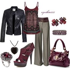 """Leather and Plum"" Nice fall look"