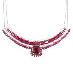 African Ruby (Oct 10.00 Ct), Burmese Ruby and White Topaz Necklace (Size 18) in Rhodium Plated Sterling Silver 40.010 Ct. 2120798