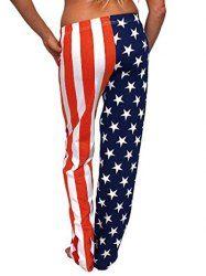 American Flag Print Patriotism Pants - COLORMIX XL