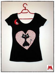 camiseta estampada con gato