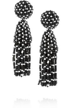 Oscar de la Renta Rhodium-plated beaded clip earrings | NET-A-PORTER