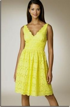 Donna Morgan Eyelet Yellow Sundress worn in Chapter 36 Yellow Bridesmaid Dresses, Yellow Lace Dresses, Pretty Dresses, Bridesmaids, Spring Dresses, Short Dresses, Yellow Sundress, Eyelet Dress, Light Dress