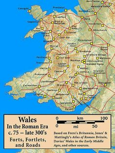 Roman Forts in Wales Map - The history of Wales in the Roman era began in 48 AD with a military invasion by the imperial governor of Roman Britain. The conquest would be completed by and Roman rule would endure until the region was abandoned in AD History Of Wales, Uk History, Roman History, British History, Scotland History, Tudor History, European History, African History, History Facts