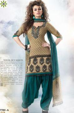 Green Poly crape Salwar Suit