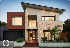 Two Story House Design, House Front Design, Small House Design, Modern House Design, Dream House Exterior, Dream House Plans, Modern House Plans, Modern Architecture House, Architecture Design