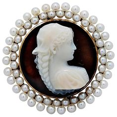 Sardonyx Antique Hard Stone Cameo Signed Pin Pendant Seed Pearls Yellow Gold | From a unique collection of vintage brooches at https://www.1stdibs.com/jewelry/brooches/brooches/