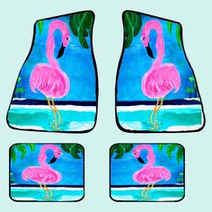 Flamingo island tropical bird art coastal beach floor mats from my art, 20 oz…