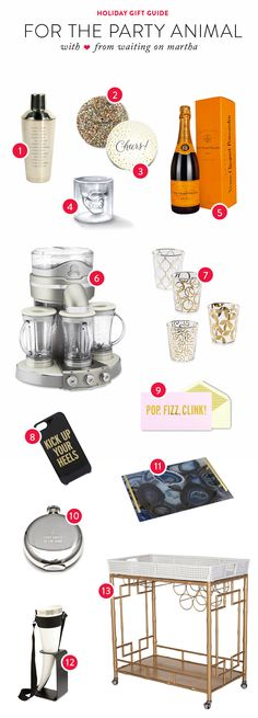 Gift Guide: For the Party Animal  Read more - http://www.stylemepretty.com/living/2013/12/09/gift-guide-for-the-party-animal/