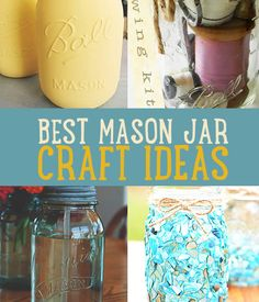 Want the best mason jar crafts? Learn how to make mason jar centerpieces, mason jar lights, and more! Mason jars make for great crafts for everyone. Mason Jar Gifts, Mason Jar Diy, Arts And Crafts Projects, Diy Projects, Class Projects, Mason Jar Projects, Jar Art, Bottles And Jars, Glass Jars