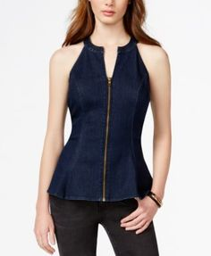 GUESS Zip-Front Denim Peplum Top $59.99 The hot peplum top from GUESS takes a seat at the it girl's table with dark blue denim and a daring zip-front.