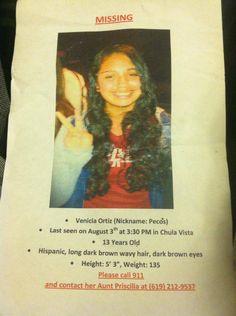 *MISSING CHILD ALERT* - Venicia Ortiz , 13, missing from #ChulaVista #California