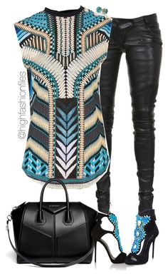 """""""Tribe"""" by highfashionfiles ❤ liked on Polyvore featuring Balmain, Givenchy and Giuseppe Zanotti"""