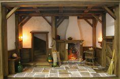 Doll House vitrine A chalet médiéval rustique Tudor à collectionner
