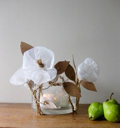 diy project: rope, paper   cork floral centerpiece