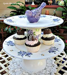 Purple Bird Pedestal Stand Whimsy / Garden by GardenWhimsiesByMary