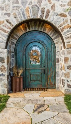 House of Turquoise: Mountain Architecture Design Group Rustic Front Doors, Teal Front Doors, Arched Front Door, Painted Front Doors, Arched Doors, Front Entry, Windows And Doors, Cool Doors, Unique Doors