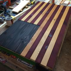 American Flag Weathered Reclaimed Wood Table