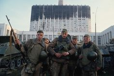 Soldiers of Guards Airborne Division in front of a burned Parliament building. Military Coup, Afghanistan War, High Quality Images, No Time For Me, Division, Moscow, Russia, Politics, The Unit