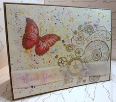 Kitchen Sink Stamps 3 Step Butterflies; Kitchen Sink Stamps, Stampendous Many Thanks; Hero Arts Watch Gears; Delicata Silver; Memento Angel Pink, Memento Rose Bud; Koi Watercolors