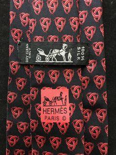 28d1fe7f9e7a HERMÈS Silk Tie - Celtic Knots - 7350 PA Black & Red at SartorialWardrobe  on Etsy