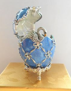 Swan inside Faberge Egg Handmade Inspired Trinket box Blue with Silver detail.
