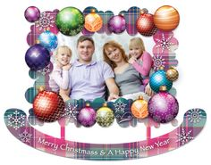 Metal picture frame. Merry Christmas colorful and by VARDOOL