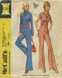 Vintage Jumpsuit Sewing Pattern | McCall's 2759 | Year 1971 | Bust 34 | Waist 25½ | Hip 36