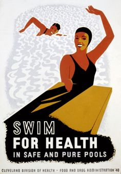 """This Works Progress Administration poster from Ohio urges people to """"Swim for health in safe and pure pools."""" The poster was created for the Cleveland Division of Health in 1940 to promote swimming as healthy exercise."""