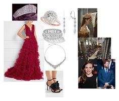 """""""Royal Crossover: Attending The coronation of her Majesty Queen Mary III of Scotland at St Giles Cathedral"""" by harryandthecambridges ❤ liked on Polyvore featuring Marchesa, Jimmy Choo, Allurez, Kobelli, TIARA, John Lewis and H&M"""